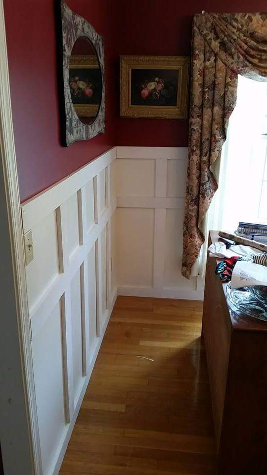 wall with wooden trim